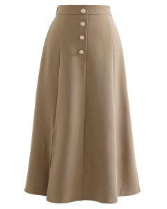 Golden Button Trim Front Slit Midi Skirt in Tan