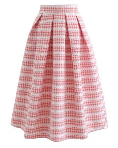 Embossed Houndstooth Sequined Pleated Skirt in Blush Pink