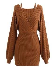 Fake Two-Piece Cold-Shoulder Wrap Knit Dress in Caramel
