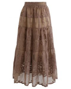 Floral Embroidery Organza Skirt in Caramel