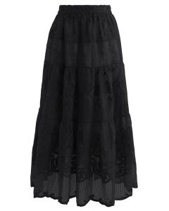 Floral Embroidery Organza Skirt in Black