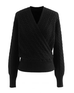 Cable Knit Wrap Front Crop Sweater in Black