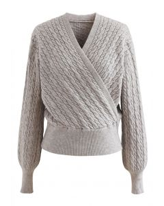 Cable Knit Wrap Front Crop Sweater in Linen