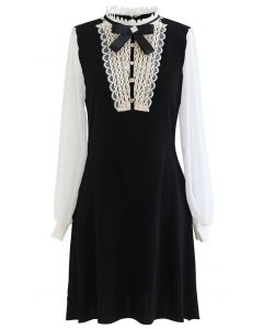 Brooch Lace Panelled Sheer-Sleeve Knit Dress