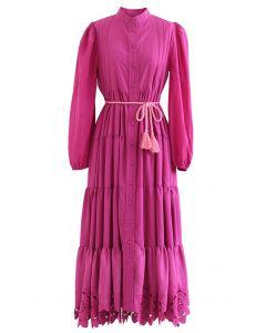 Flower Cutwork Cotton Maxi Dress in Hot Pink