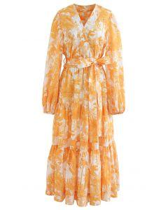 Leaf Print Cotton Self-Tie Wrap Top and Maxi Skirt Set
