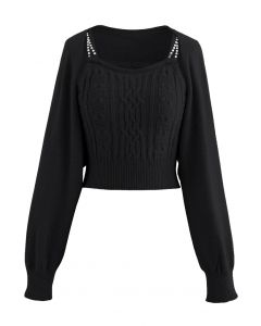 Cropped Braid Knit Cami Top and Sweater Sleeve Set in Black