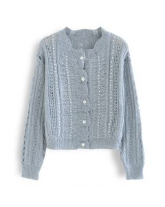 Pearly Hollow Out Knit Buttoned Top in Dusty Blue