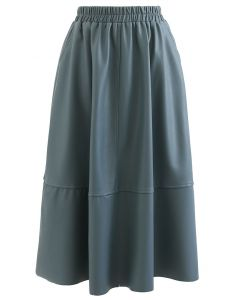 Faux Leather Side Pocket Midi Skirt in Teal
