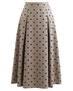 Polka Dot High Waist Midi Skirt in Sand
