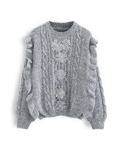 Crochet Flowers Decorated Ruffle Cable Knit Sweater in Grey