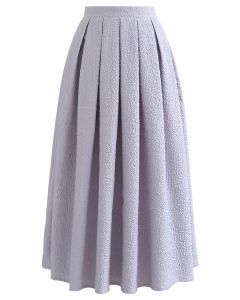 Carnation Embossed Satin Pleated Midi Skirt in Lilac