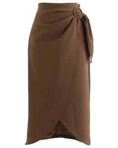 Flap Front Knot Side Midi Petal Skirt in Caramel