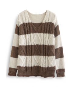 Color Blocked V-Neck Cable Knit Sweater in Ivory