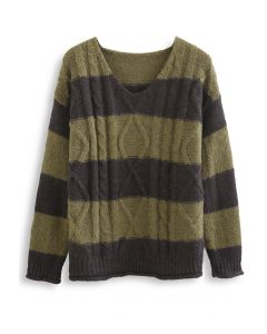 Color Blocked V-Neck Cable Knit Sweater in Olive
