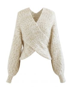 Crisscross Ribbed Knit Crop Sweater in Shimmer Ivory