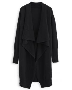 Waterfall Longline Knit Cardigan in Black