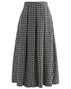 Shimmer Gingham Pleated Midi Skirt in Black