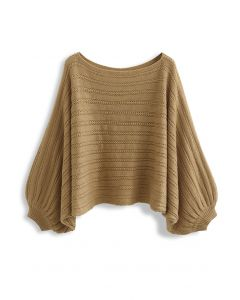 Boat Neck Batwing Sleeve Crop Sweater in Camel
