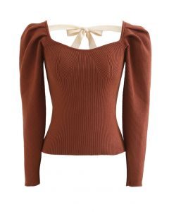 Gigot Sleeve Square Neck Crop Knit Top in Caramel