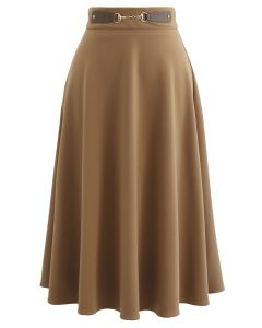 Horsebit Decorated A-Line Midi Skirt in Tan