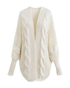 Open Front Batwing Sleeve Cable Knit Cardigan in Ivory