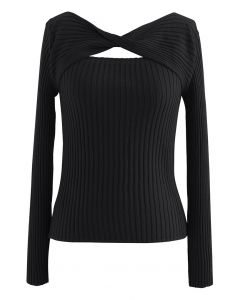 Twisted Cut Out Fitted Knit Top in Black