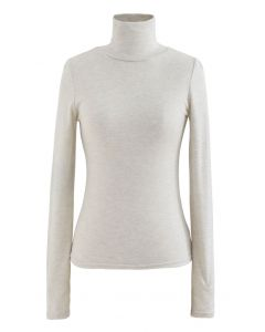 Turtleneck Thumb Hole Fitted Knit Top in Linen
