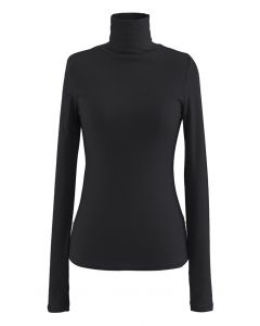 Turtleneck Thumb Hole Fitted Knit Top in Black