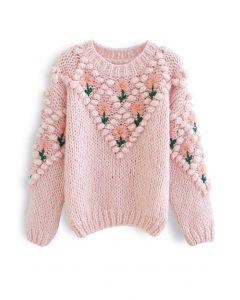 Stitch Floral Diamond Pom-Pom Hand Knit Sweater in Pink