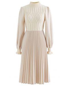 Cable Knit Spliced Pleated Midi Dress in Cream