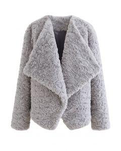Wide Lapel Snug Faux Fur Coat in Grey