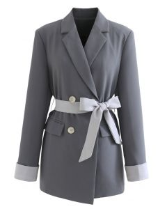 Self-Tied Bowknot Double-Breasted Blazer in Grey