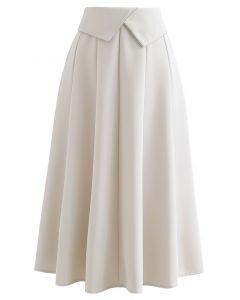 Crystal Flap Seam Detailing Midi Skirt in Ivory