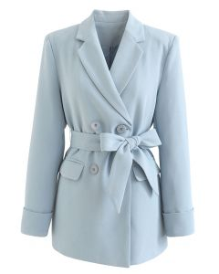 Self-Tied Bowknot Double-Breasted Blazer in Baby Blue