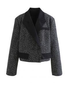 Cropped Pad Shoulder Tweed Blazer in Black