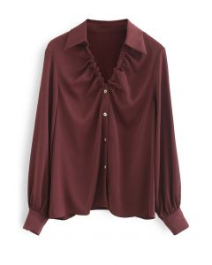 Ruched V-Neck Button Down Satin Top in Burgundy
