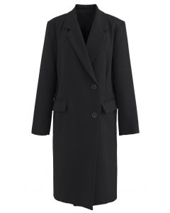 Single-Breasted Pocket Longline Coat in Black