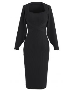 Halter Neck Bodycon Knit Dress with Sweater Sleeve in Black