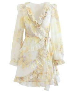 Watercolor Printed Ruffle Wrapped Mini Dress