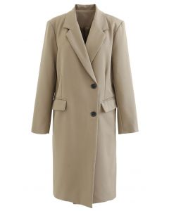 Single-Breasted Pocket Longline Coat in Tan