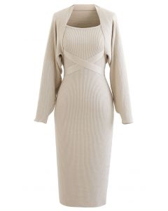 Halter Neck Bodycon Knit Dress with Sweater Sleeve in Sand
