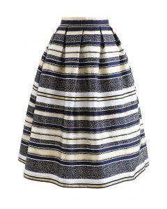 Horizontal Striped Jacquard Pleated Flare Skirt