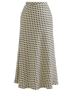 Full Spot Print Midi Skirt in Cream