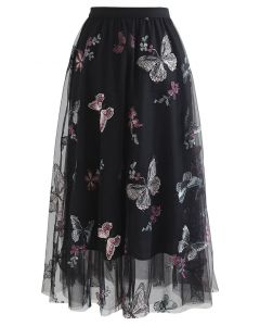 Black Butterfly Embroidered Double-Layered Mesh Skirt