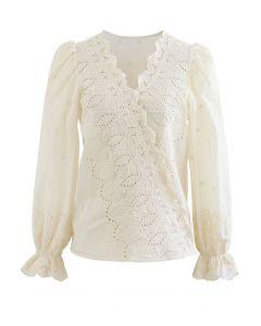Embroidered Surplice Neck Cotton Wrap Top in Cream