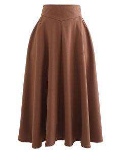 Classic Side Pocket A-Line Midi Skirt in Caramel