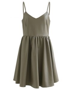 Soft Touch Faux Leather Cami Mini Dress in Khaki