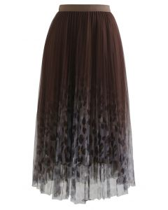 Spot Print Gradient Mesh Pleated Skirt in Brown