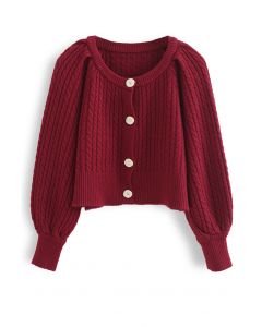 Braid Knit Button Down Crop Cardigan in Red